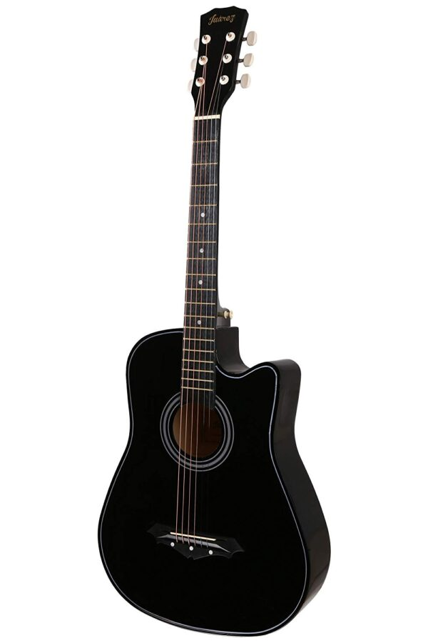 Juarez Acoustic Guitar, 38 Inch Cutaway, 038C With Bag, Strings, Pick And Strap, Black 1